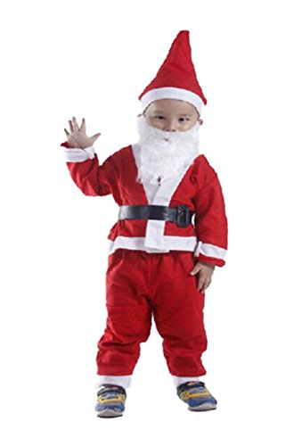 [bouti1583 Children Santa Claus Costume Suit 5 in 1 Outfit New] (Claus Costume)