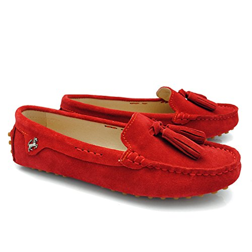 Minitoo Girsl Ladies Slip-on Suede Leather Lace Up Tassels Casual Driving Shoes Loafers Flats Red is2mx0uTYd