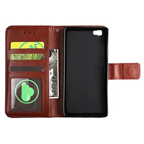 YAJIE-Carcasa Funda Para Huawei P8 Lite en relieve medio diseño de flores [correa para la muñeca] Premium PU cuero billetera bolsa Flip Stand caso ( Color : Blue ) Brown