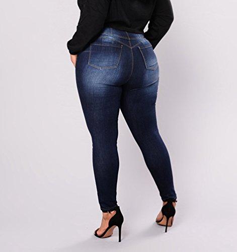 Lápiz Azul Alta Tamaño Skinny Mujer Oscuro Pantalones Delgado Cintura Pantalones Grande Vaqueros Denim Dooxi 7wqtpTf1xc