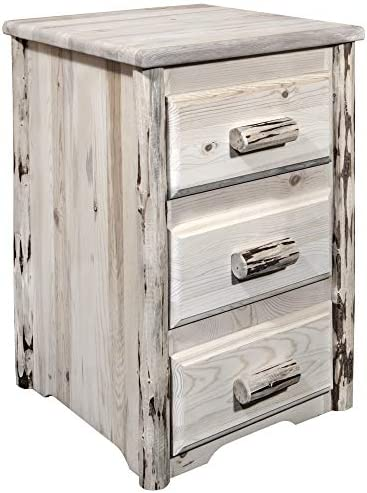 Montana Woodworks Collection Nightstand with 3 Drawers, Clear Lacquer Finish