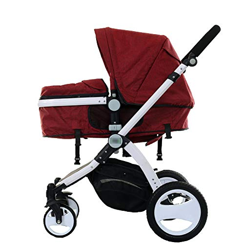 GAOYY Stroller Travel Systems New Born Two-Way 2 -in-1 Lightweight Foldable Reclining Portable Adjustable(Folding Size:35.824.8 Inch),Red