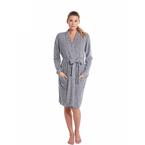 Barefoot Dreams CozyChic Lite He Ribbed Robe, Pacific Blue-Pearl, Large/X-Large