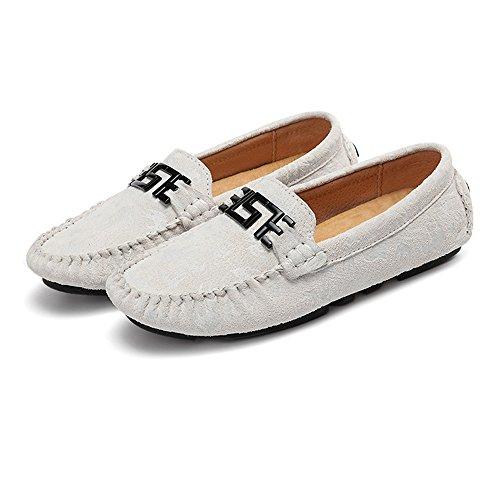 conducción Color Blanco de de Meimei Penny Mocassins Hombres Lovers Vamp Holgazanes Los tamaño Ligeros Negro 41 Genuino de shoes EU impresión Cuero Boat FqSTX