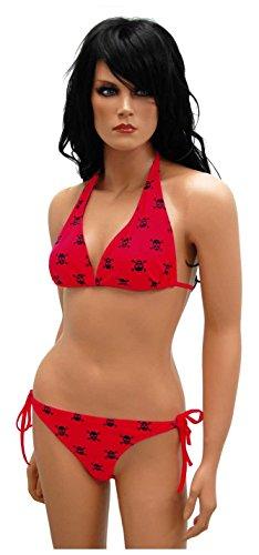 Neckholder Bikini Totenköpfe Rot