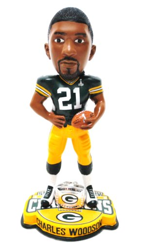 NEW ITEM!! Charles Woodson #21 Green Bay Packers Nfl official Super bowl XLV Champions collectible limited Edition ring base Bobble head by forever