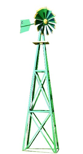 Windmill Tower (Outdoor Water Solutions BYW0129 Large Green and Yellow Powder Coated Backyard Windmill)