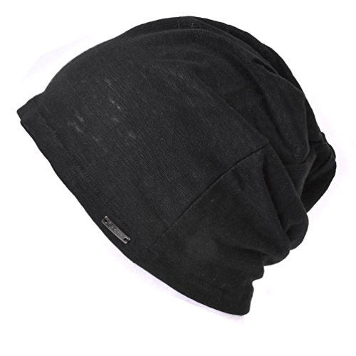 Casualbox Womens Beanie Linen Summer Made in Japan hat knit cap Lightweight Black (Cool Summer Hats compare prices)