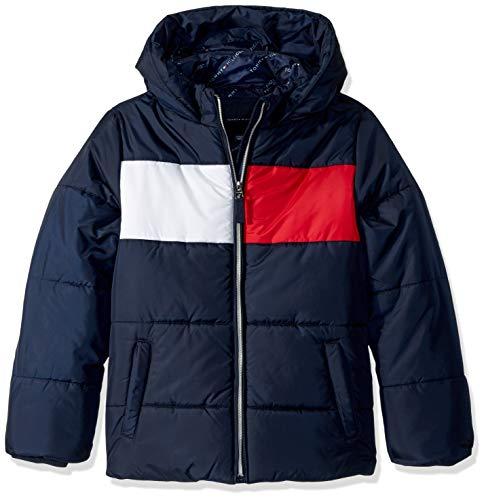 Tommy Hilfiger Little Girls' Quilted Puffer Jacket, Swim Navy Flag, 4