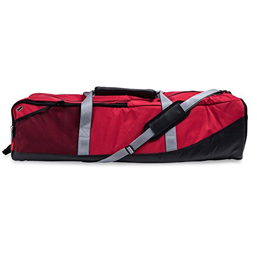Champion Sports Lacrosse Equipment Bag: Duffel Sports Bag for Mens & Womens, Girls & Boys Gear - Red (Red Lacrosse Helmet Accessories)