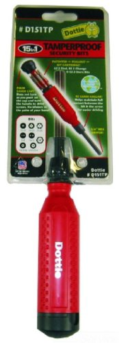 L.H. Dottie  D151TP Tamper Proof 15 in 1 Screwdriver, Red Cap/Black Body 15in 1 Screwdriver Tool