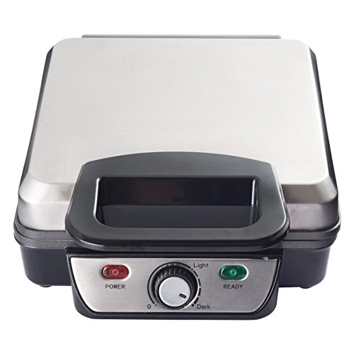 GHP 1200W 13''x9.1''x4.3'' Stainless Steel Waffle Maker with Adjustable Temp Control by Globe House Products