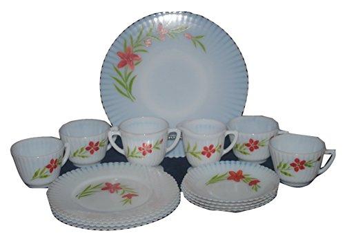 Vintage Handpainted MacBeth Evans White Opalescent Monax Petalware 15 Piece Dessert Set ()