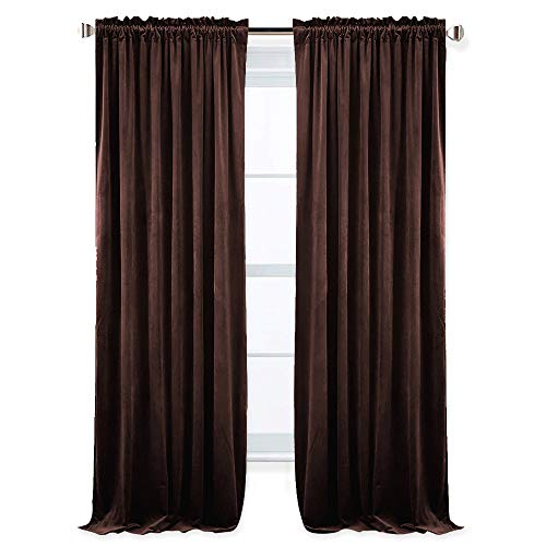(RYB HOME Velvet Curtains - Pleated Drapes for Living Room Dual Rod Pockets Design Repel Summer Heat & Winter Chill Reduce Noise Light Block for Cost & Energy Saving, 52 x 84 inch, Chestnut, 2 Panels)