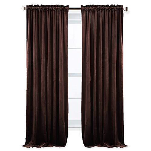 RYB HOME Bedroom Velvet Curtains - Room Darkening Drapes Dual Rod Pockets Room Darkening Curtains Versatile Hanging with Rod/Hooks Energy Saving Sound Dampening Drapes, 52 x 96 inch, Chestnut, 2 Pcs