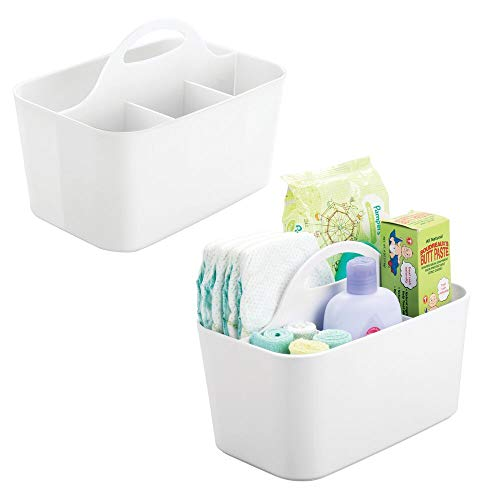 mDesign Plastic Nursery Storage Caddy Tote, Divided Bin with Handle for Child/Kids - Holds Bottles, Spoons, Bibs, Pacifiers, Diapers, Wipes, Baby Lotion - BPA Free, Small, 2 Pack - White ()