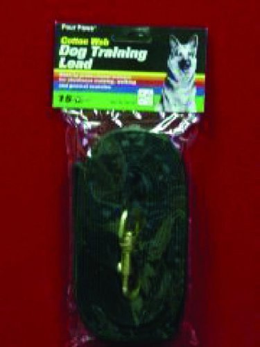 Four Paws Black 15 Foot Cotton Web Dog Lead by Four Paws