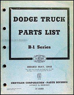 1948 Dodge Pickup and Truck Parts Book Original B1