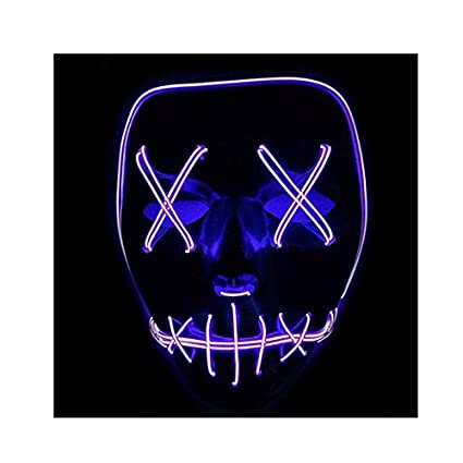 tofree Halloween Mask LED Lighten Up Comic Masks Great Festival Cosplay Costume Supplies Party Masks Glow