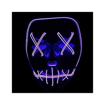 Cozyswan Máscara de Halloween luz LED para Disfraces, Disfraces, Fiestas, Disfraz Morado Morado: Amazon.es: Informática