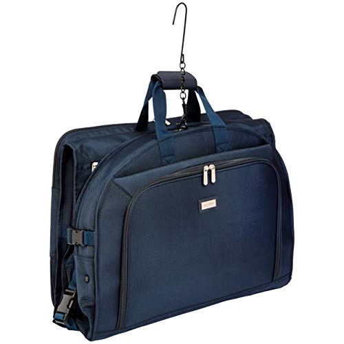 Bag Lightweight Garment Fold Tri - AmazonBasics Premium Tri-Fold Travel Hanging Garment Bag - 52 Inch, Blue