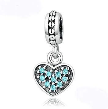 European 925 Silver CZ Heart Charm Beads Pendant Fit Bracelet Necklace Chain