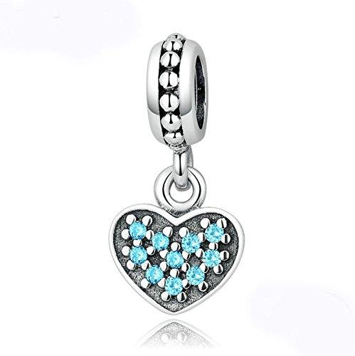 2P European Silver CZ Charm Beads Fit sterling 925 Necklace Bracelet Chain #578