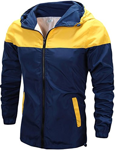 Jacket Replacement Liners (Cruiize Mens Casual Hooded Windbreaker Sunscreen Color Block Jackets Blue Large)