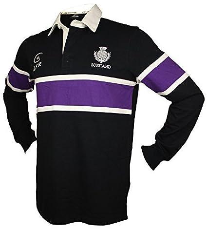 Escocia Azul Marino Camiseta de rugby LILA RAYAS Seis Naciones Manga Larga - Azul Marino,