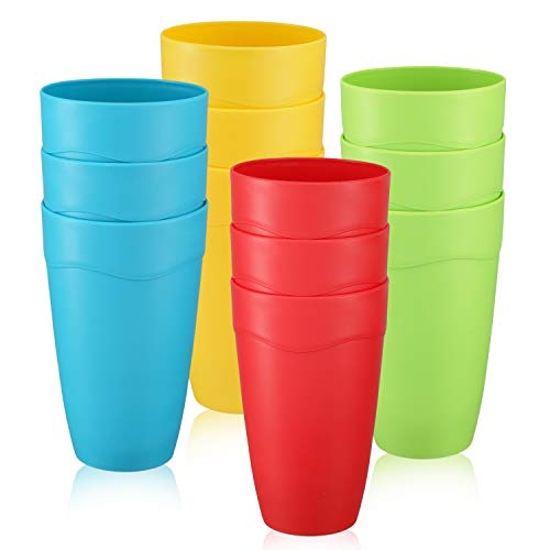 3 Plastic Tumblers - Set of 12 Kids Plastic Cups - 15 oz Kids Drinking Cups - Kids Unbreakable Tumblers - Microwave - Dishwasher Safe - BPA-Free Cups for Kids- 4 Vibrant Colors (3 of Each Color) - Great For Party & Picnic