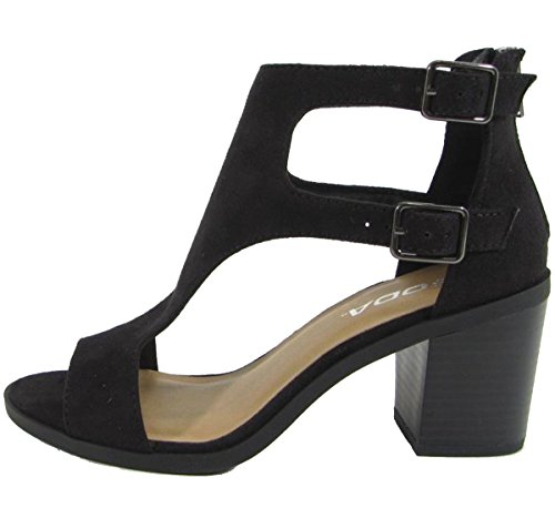SODA Womens Open Toe Double Buckle Cutout Stacked Heel Sandal