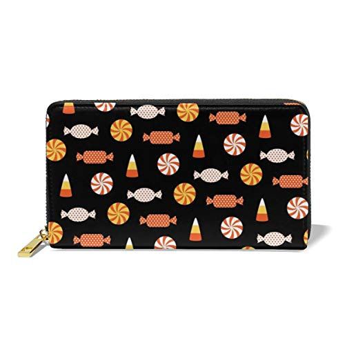 Poream Halloween Candy Vector Image Customized Leather Zipper Printed Clutch Bag Wallet Card Large Capacity Long Purse For Women -