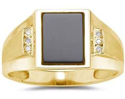 [10K Yellow Gold Onyx and Diamond Men's Ring] (10k Gold Onyx Diamond Ring)