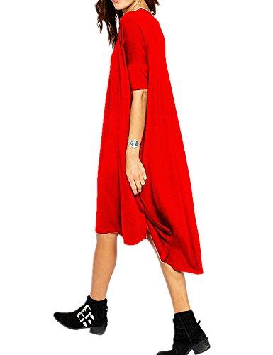 Shirt Red Mini Tops Loose Shirts Short Home T Haola Dresses Dress Women's tZwPcUq