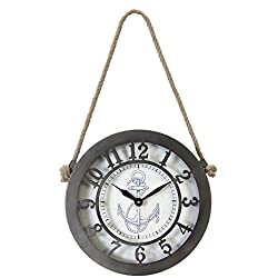 Kiera Grace HO60205-3 The Captain Metal Wall Clock, Large, Dark Gray