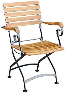 Nice chaise pliante avec accoudoirs en teck certifié fSC