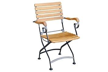 Nice Chaise Pliante Avec Accoudoirs En Teck Certifi FSC Eisengestellt Solide Et Confortable