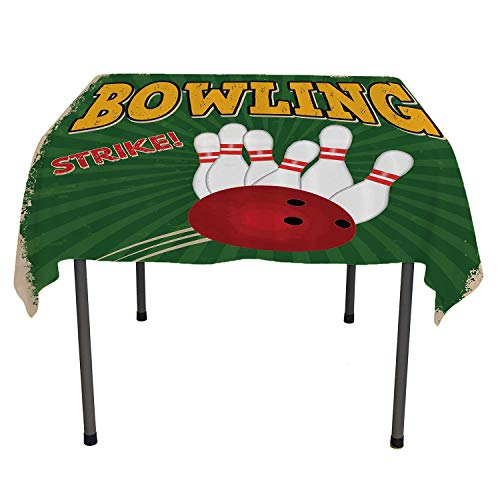 Vintage Decor Jacquard Tablecloth Bowling Balls and Pins Design Western Sport Hobby Leisure Winner Artsy Art Print Multi outdoor tablecloth waterproof Spring/Summer/Party/Picnic 70 By 70