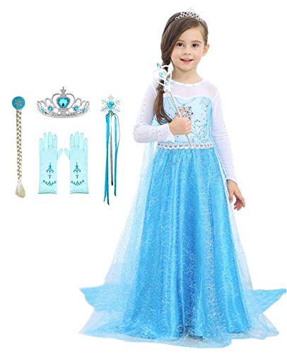 Bestier Girls Princess Dress Costume - Birthday Party Dress Up for Toddler Girl (Blue, 4-5Years)