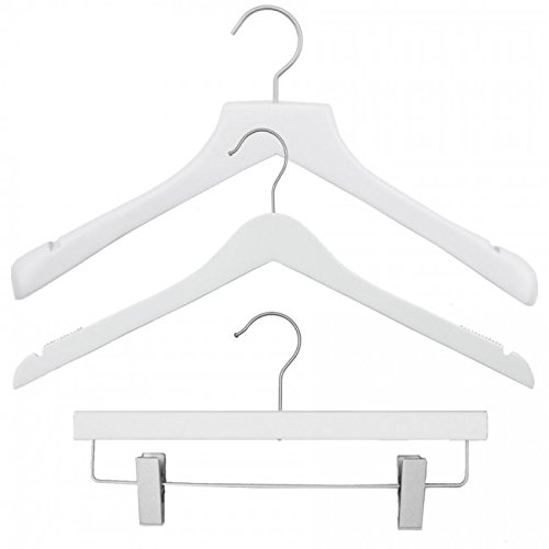 NAHANCO 20117HUSK Wood Clothes Hanger Kit - Low Gloss White (Pack of 79) by NAHANCO