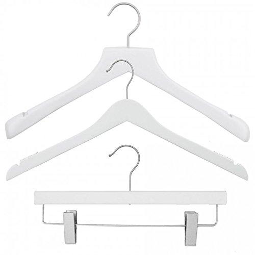 NAHANCO 20117HUSK Wood Clothes Hanger Kit - Low Gloss White (Pack of 79)