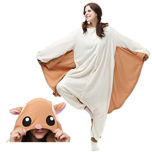 (Kigurumi Onesie Cosplay Costumes, Hooded Animal Pajamas for Women and Men, Cozy Plush Adult Jumpsuits/Lounge Wear for Halloween (M/L, Brown Flying)