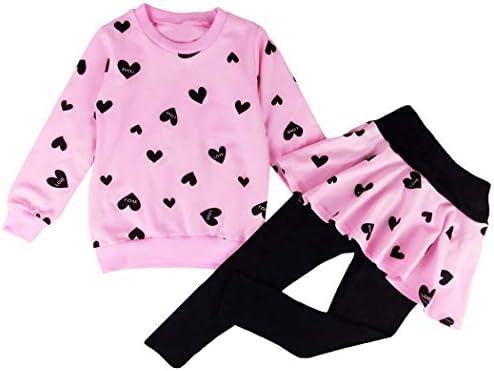 Kleinkind M/ädchen Bekleidungssets Baumwolle Kinder Outfits Zweiteiliger Herz Print Langarm Top Sweatshirt und Leggings Tutu Rock Hosen 98 104 110 116 122 128
