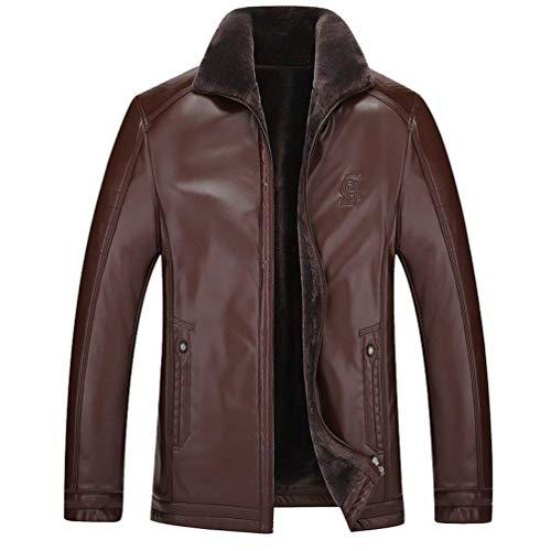 Velvet Slim Apparel Padded Cotton Fake Pu Warming Jacket Fit Leather Men's Rm Fur Sleeve Jacket Fur Braun Vintage Collar Coat Jacket Winter Leather Long w0S0xPqYT