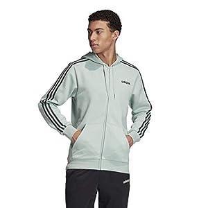 adidas mens Essentials 3-Stripes Regular Fit Training Fleece Track Top Sweatshirt, Black/White, Large/Tall