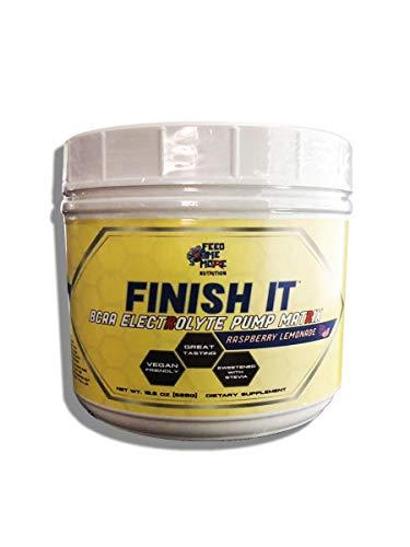 Finish It Premium Stevia BCAA Electrolyte Pump Matrix 1 BCAA No Artificial Colors, Vegan Keto Friendly 30 Servings