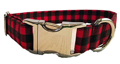 (Metal Buckle Red Buffalo Check Dog Collar black gingham plaid winter Christmas holiday puppy chrome Hardware cotton Fabric Adjustable)