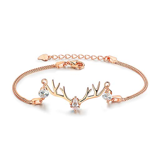 VANA JEWELRY Gold Deer Bracelet 925 Sterling Silver Dainty Reindeer Bracelet 18K Gold Plated Animal Lover Bracelet Gift for Her on Anniversary Birthday Mothers' Day w/Presents (Antlers-Gold)