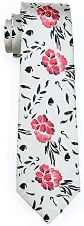 CAOFENVOO Men's Tie Jacquard Woven Silk Formal Floral Necktie