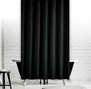 Cortina de baño textil negro uni 180x180 cm incl. anillos cortina de baño negro